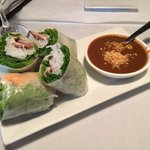 Fresh spring rolls with peanut sauce.