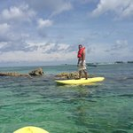 Paddleboarding to coral reef on hotel property/Cable Beach