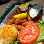 The broiled crab cake...so fresh and tender