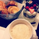 Croissants, Cappuccino and Berry Parfait - Room Service