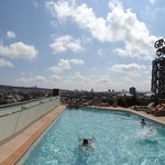 Pool on the roof with the view of the city