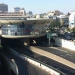 Direct view from my room of  a highway tunnel and  a strip club. There was significant street no