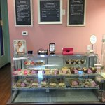 Our menus and bakery case.