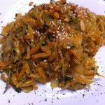Sweet potato noodles & summer stir fry veg