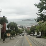 On a tramcar looking down on Alcatraz