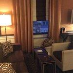 lounge area of corner suite