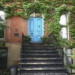 The welcoming blue door