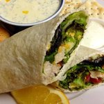Veggie wrap with grilled chicken and potato soup