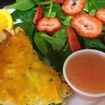 Spinach quiche and strawberry spinach salad