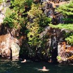 Bluff climbing and jumping on Lake George