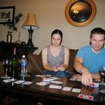 Cards in living room with our friends (and wine)