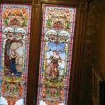 Beautiful stained glass window on the staircase