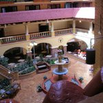 Looking down into center of hotel