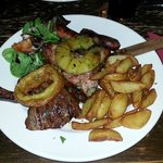 Mixed grill: 20oz of well-cooked meat for £15.  Bargain!