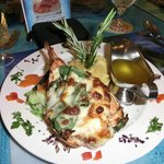 de kreeftstaart met kaas en spinazie
