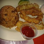 REAL GROUPER FINGERS WITH PEAS N RICE