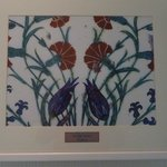 Hand painted Iznik tile framed, in the hall outside room.  Gorgeous