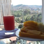 Fresh fruits juice Breakfast and a view