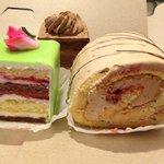 Rum cake, Hazelnut roll and Chocolate cake