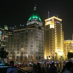 The hotel at night seen from the Bund