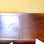 Hand prints on headboard...