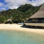 Scorcio della spiaggia, piscina e del ristorante/bar