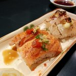 roasted sushi - salmon (front), scallop (back)