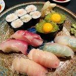negitoro roll, wasabi tobiko with quail egg gunkan, and a bunch of sushi