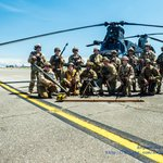 WWII Reenactors & US Army Rangers in front of a MH-47
