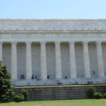 The back of the Lincoln Memorial