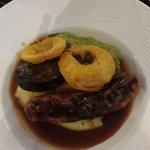 Cumberland Sausage,  Mash, Black Pudding & Mushy peas. Very nice indeed.