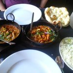Bhuna on left, Garlic Chilli on right, Garlic naan and plain pilau