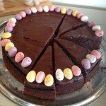 Chocolate cola cake with mini eggs