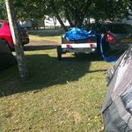 trailers and cars parked so close to our tent,
