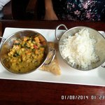 Chickpea curry with samosa