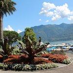 Blumenpracht zwischen Hotel und See