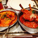 Chicken curry (the one in the menu) and lamb chop massala +++