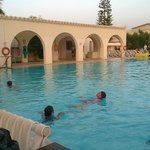 The children having an evening swim at the 'noisy' pool
