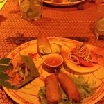 Banana blossom salad And Green papaya salad And fried vegetable spring rolls