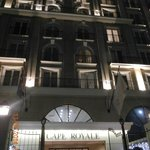 Night time at the entrance Hotel Royale