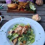 Burger and Caesar salad. Beautiful food.