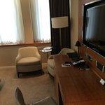 Desk, television, sitting area