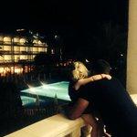 Jools saying good night to the kids pool