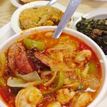 Shrimp Creole sweet potato casserole and turnup greens all for under eight dollars..