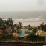 View of the beach from the hotel room during Monsoons