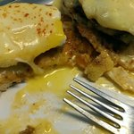 Eggs Benedict with homemade Hungarian sausage