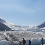 A cravass tempts tourists at the Columbia Icefields.