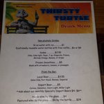Thirsty Turtle Drink Menu