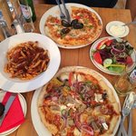 Seafood Pizza, Goats Cheese Pizza, Arrabattia Pasta & Side Salad