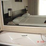 Прозрачная стена между комнатой и ванной